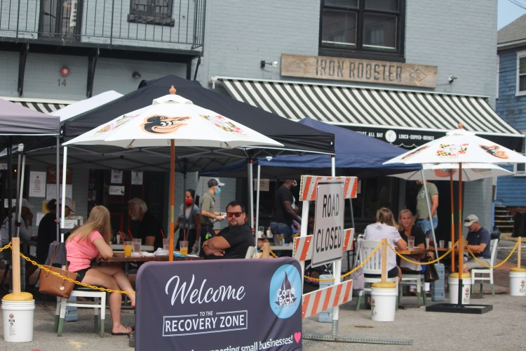 Makeshift outdoor seating at Iron Rooster, Annapolis