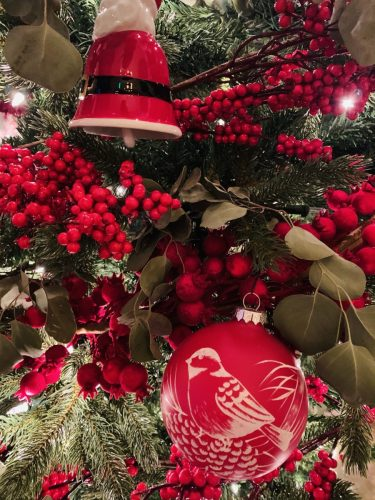 Red-themed trees at The Cloister at Sea Island