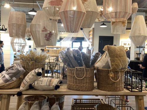 Baskets, lighting at Magnolia Market, Waco TX