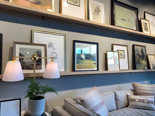 Artwork on shelves, Magnolia Home, Waco TX