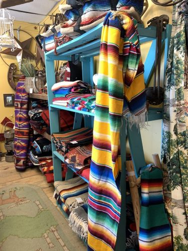 Colorful blankets at Cross-Eyed Moose, Ft. Worth Stockyards