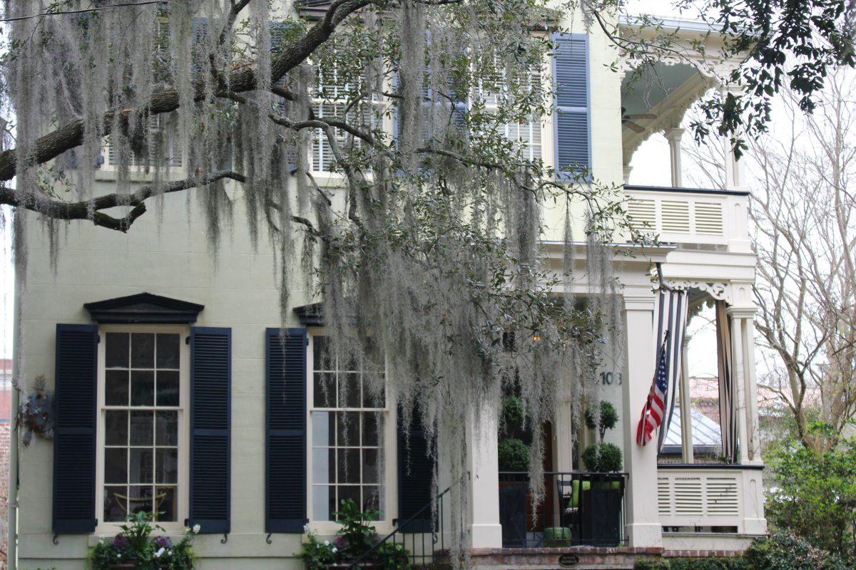 Savannah GA: white house, Spanish moss on Jones Street