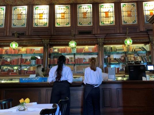 Gryphon restaurant stained glass, Savannah GA