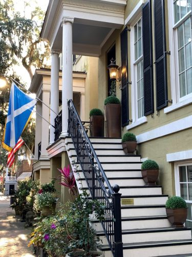 Savannah GA: formal planters on house on Jones St