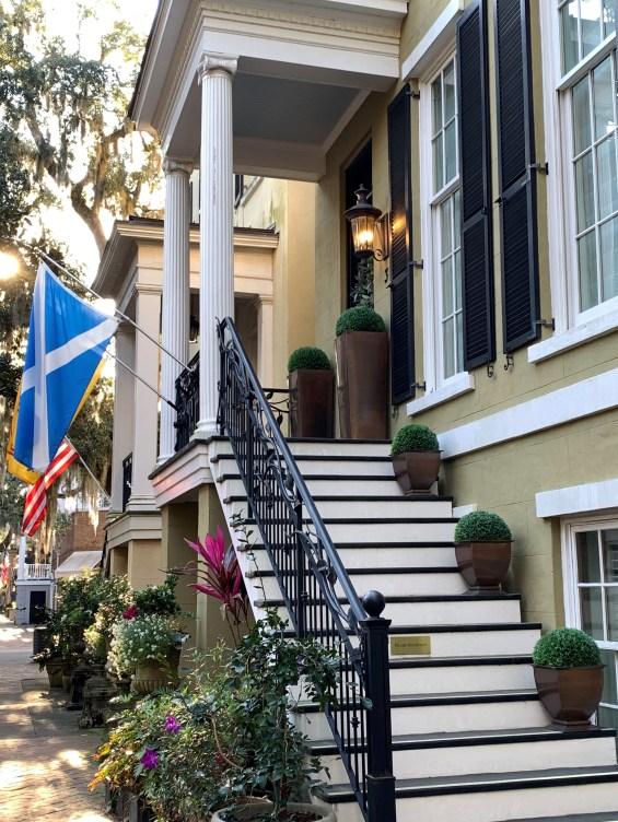 Savannah GA: formal planters on house on Jones St