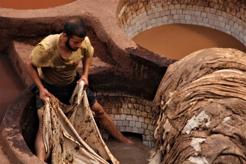 Man in the tannery, Fes, Morocco