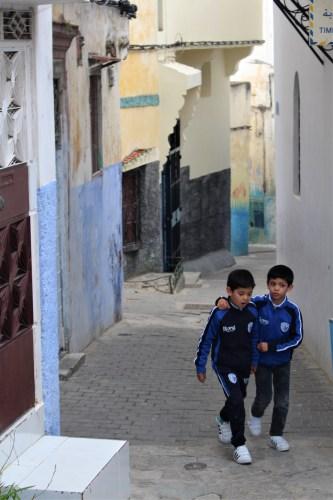 Tangier: children walking through the alley