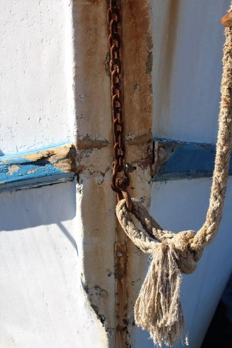 Rope on blue and white boat: Apalachicola FL