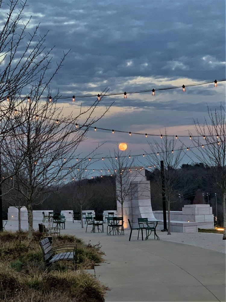 Strings of lights competing with moon at Lakeshore Park, Knoxville, TN
