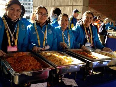 Serving pasta the night before Boston Marathon 2014