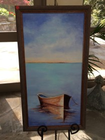 Single boat on still waters on display in the sunroom at the home of Melanie Wood