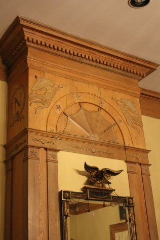 Carvings above fireplace: Napoleon House, New Orleans