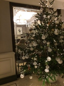 All silver decor for the lobby tree at Grosvenor House, London.