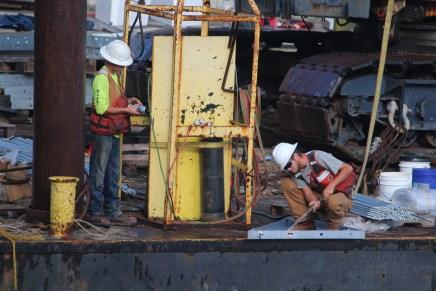 Repairing the docks at Harbor Town