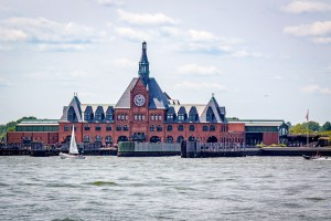Looking at Ellis Island terminal from tour boat.
