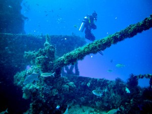 Diver and Gun from Wreck dive with Aquanauts