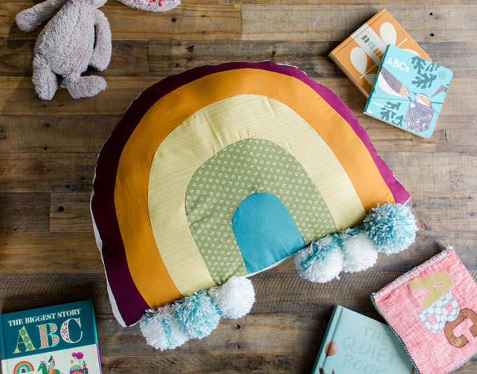 easy rainbow floor pillow tutorial