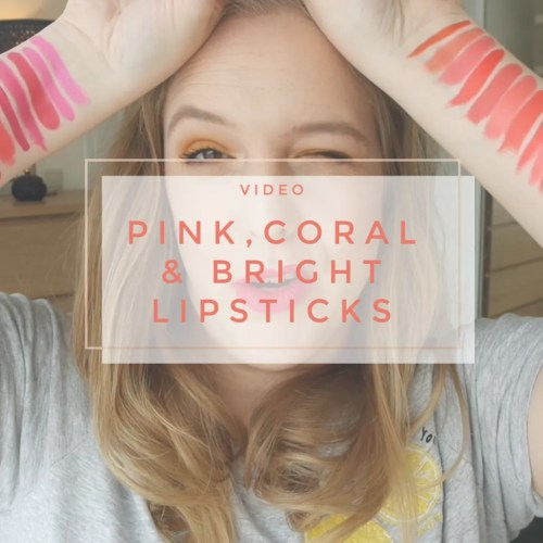 pink coral bright purple orange lipstick collection