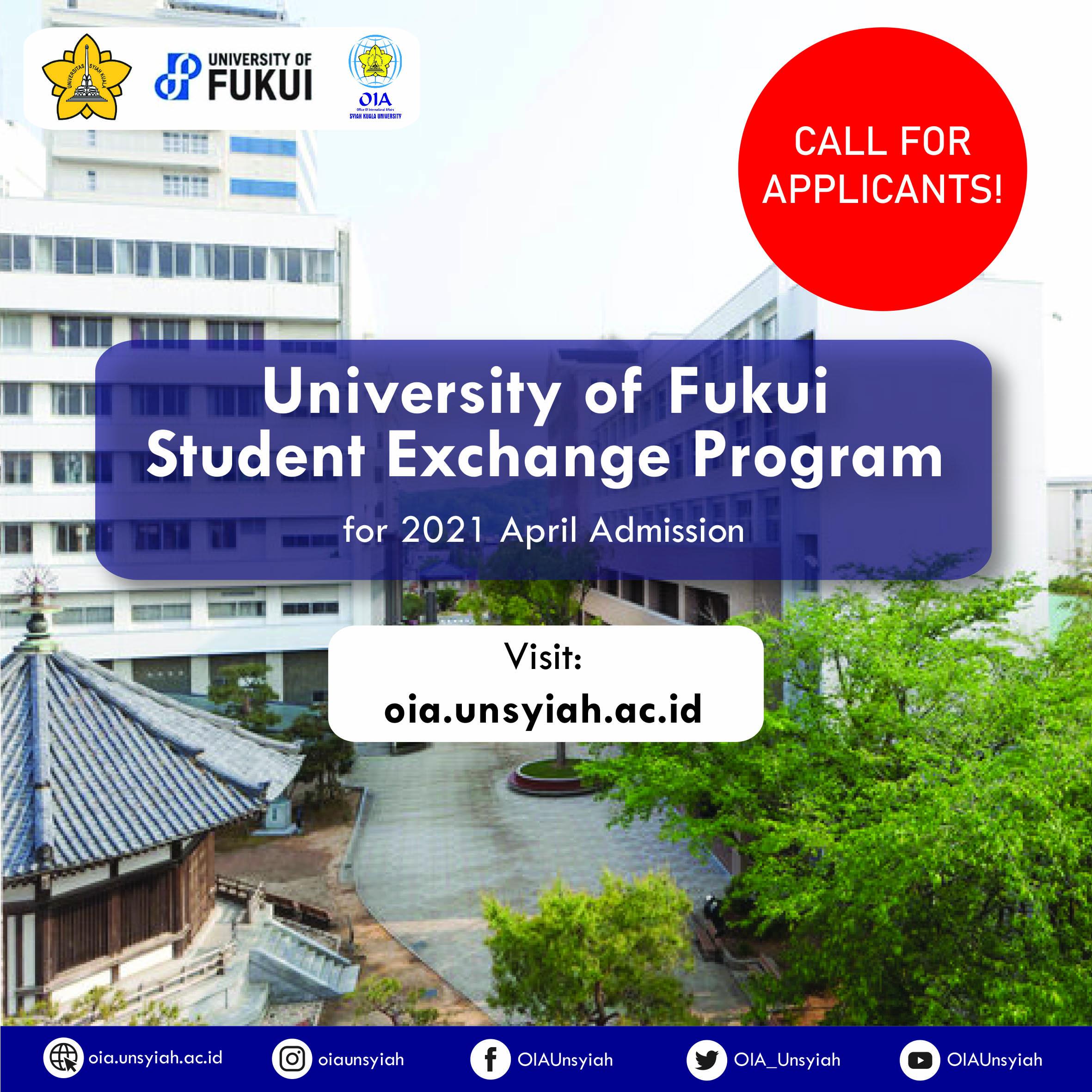 UNIVERSITY OF FUKUI STUDENT EXCHANGE PROGRAM