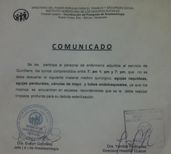 comunicado hospital venezuela