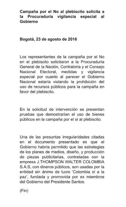 Comunicado Juan Carlos Vélez