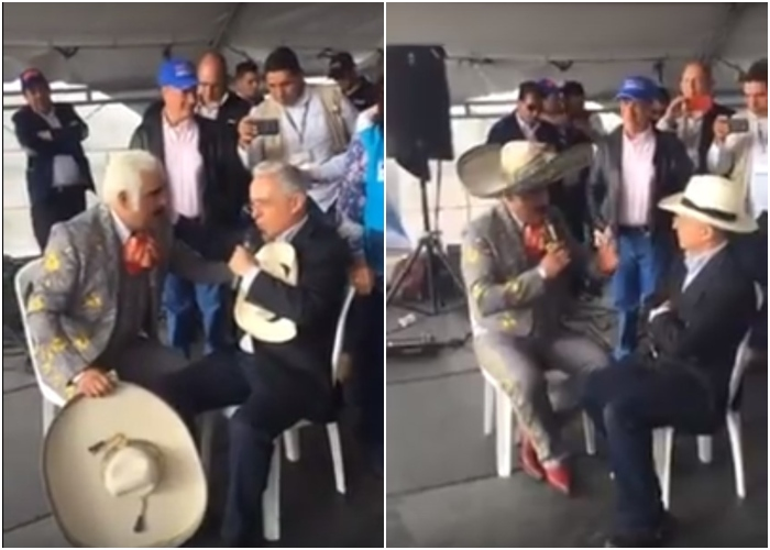 Vicente Fernández le canta al presidente Uribe
