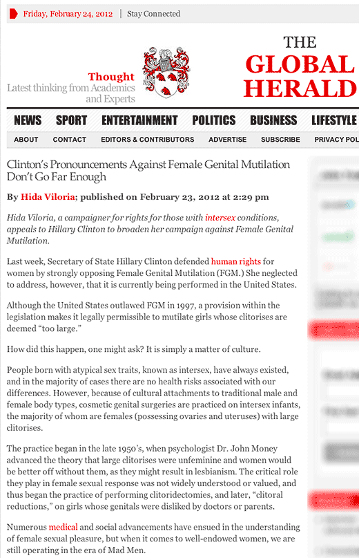 The Global Herald: Clinton's Pronouncements Against Female Genital Mutilation Don't Go Far Enough - click to read this article.
