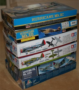 Six 1/48 WWII fighter model kits