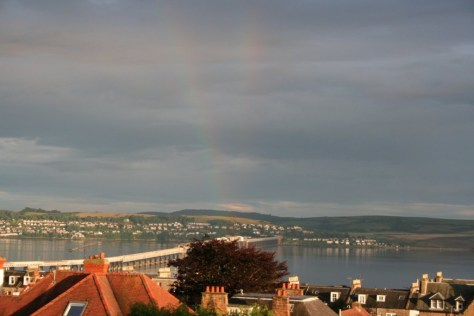 Double rainbow from reflected sun