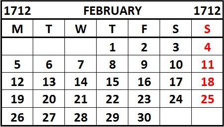 Swedish calendar shift 1712