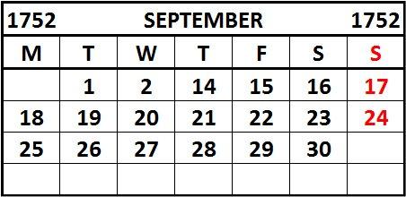 Gregorian Calendar 1752 (Great Britain)