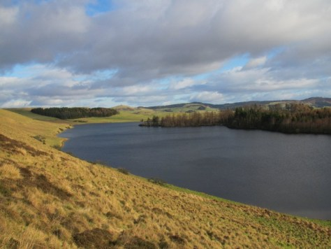 Kinpurney Hill and Long Loch from the descending path along the burn below Westerkeith Hill