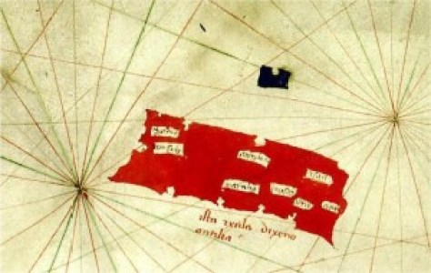 Antillia on a 1424 nautical chart