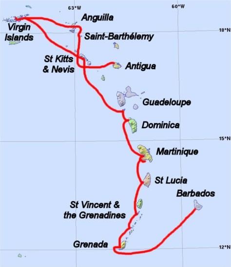 Lesser Antilles showing route