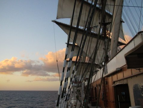 Evening on board, sails set