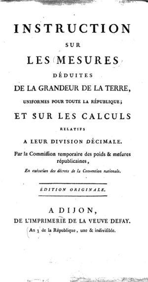 Title page of Instruction sur Les Mesures