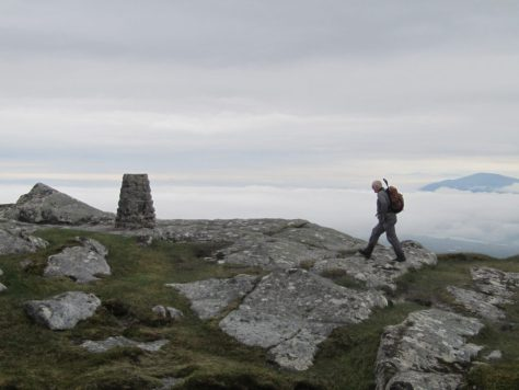 Cloud inversion at the trig point of Ben Loyal