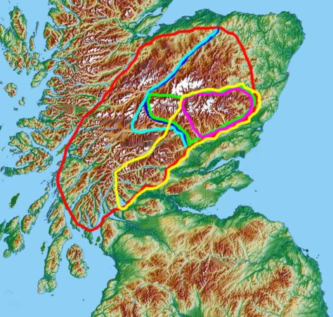 Various definitions of the Grampian Mountains