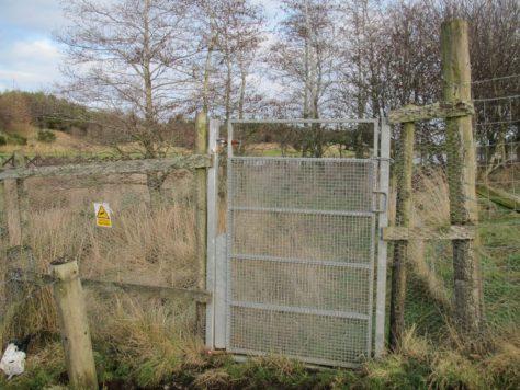 Locked gate between Ledyatt Loch and Balshando Hill