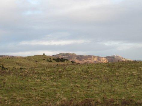 Cairn of West Mains Hill, Auchterhouse Hill & Craigowl beyond