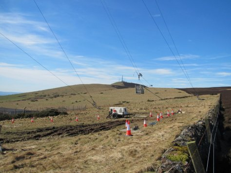 The inspection gondola on Gallow Hill telecom mast