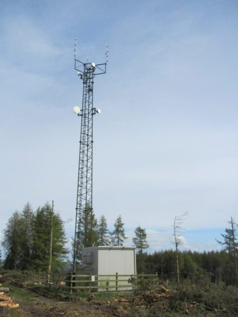 Telecommunication mast at east end of Labothie Hill ridge