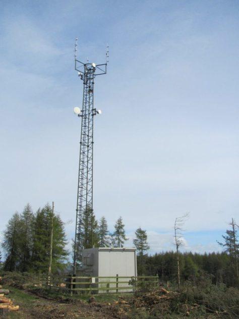 Telecommunication mast at east end of Labothie Hill ridge