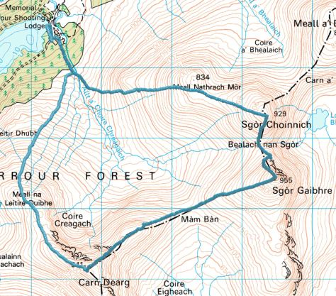 Carn Dearg & Sgor Ghaibhre route