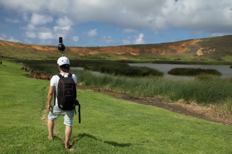 Scanning guy in Rano Raraku crater, Easter Island