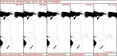 Shifts in the International Date Line 1900 to present