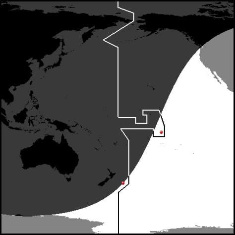 Sunrise line in the Pacific, 16:00 GMT, 31 December 1999 - Chatham and Millennium Islands marked