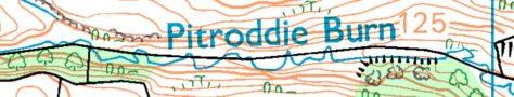 Upper reaches of Pitroddie Burn, OS 1:25000