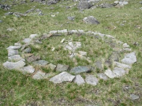 Stone circle below Blabheinn south top