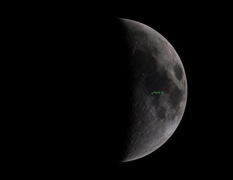 Moon phase during Apollo 11 LM takeoff